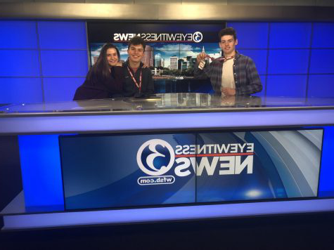 On a deadline-- (left to right) Junior 瑞奇podgorski and seniors Matthew Arena and Hanny Wolkoff visit the Channel 3 news team in Rocky Hill, Connecticut, last year on a field trip. At the time of the trip, Wolkoff served as Managing Editor on staff, a position Podgorski took over this year.